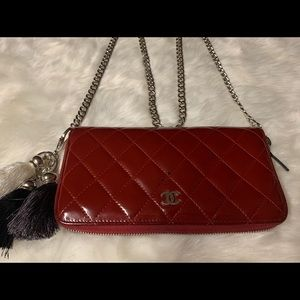 Chanel Big CC logo Leather Red Wallet on Chain